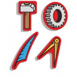 4 magneti logo Fiom scomposto