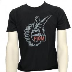 T-shirt Uomo Nera Logo Fiom