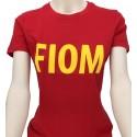 T-shirt Donna Rossa scritta FIOM