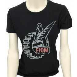 T-shirt Nera Logo Fiom