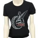 T-shirt Donna Nera Logo Fiom